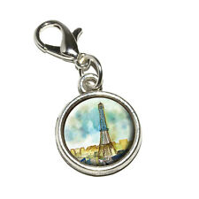 Watercolor Paris - Eiffel Tower France - Bracelet Charm with Lobster Clasp