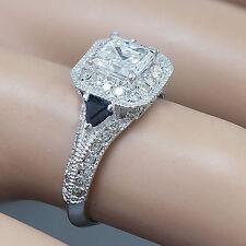 18k White Gold Asscher Cut Diamond Engagement Deco Halo Ring 1.75ct H-VS2 EGL US