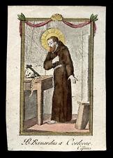 santino incisione 1700 S.BERNARDO DA CORLEONE  dip. a mano
