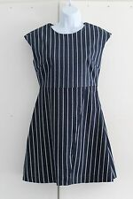 UK 10 LOUCHE Elyse-Rope Dress Blue White Slight Stretch Button Bag Attached (237