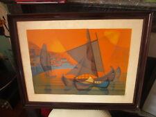 """Lithographie de TOFFOLI -""""bateaux portugais"""" , signée, numérotée"""