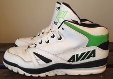 Rare VTG 90's White & Green Leather AVIA ARC SPIDER OG Basketball Mid -Top Sz 11