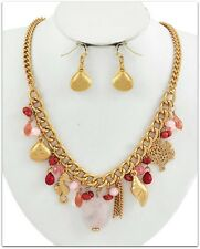 GOLD SEAHORSE SEA SHELL CHARM PINK & CORAL BEAD STATEMENT NECKLACE & EARRING SET