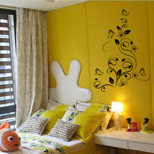 Removable Butterfly Vine Flower Wall Decals Vinyl Art Stickers Room Mural Decor
