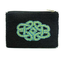 Seed Bead Black Purse with Celtic Design 13cm x 9cm