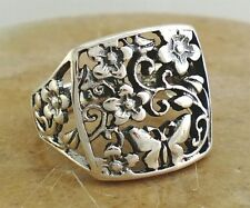 LARGE .925 STERLING SILVER FILIGREE BUTTERFLY FLOWER RING size 9  style# r1860
