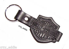 HARLEY DAVIDSON LEATHER BAR SHIELD KEY CHAIN * MADE IN USA - NO RESERVE