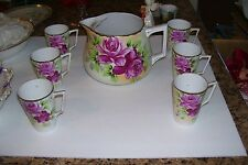 Gorgeous Antique NIPPON-LEMONADE SET/PITCHER & 6 CUPS w/Beautiful Roses