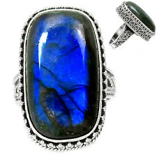 Blue Fire Labradorite 925 Sterling Silver Ring Jewelry s.9 BFLR1482 BFLR1482