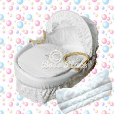 White Padded Broderie Anglaise Replacement Moses Basket Dressing Bedding, Covers