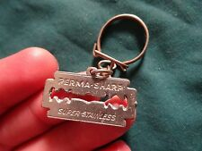 Vtg Razor blade shaped white metal  key chain ring perma sharp super stainless
