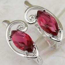 Crazy Nice Ruby Red Marquise Cut Gems Gold Filled Huggie Women Earrings H1395