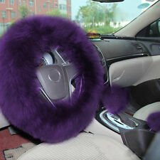 1 Set purple Color Wool Super Soft Comfortable Steering Wheel Cover Protector  I