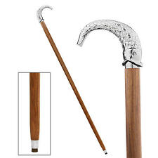 Chrome Metal Silver Fish Handle Collectible Polished Hardwood Walking Stick Cane