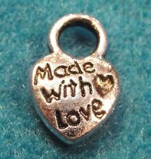 "20Pcs. Tibetan Silver ""Made w/ Love"" HEART Charms Jewelry Tags MB14"