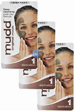 3 X MUDD ORIGINAL MUD FACE MASK DEEP CLEANSING CLAY FORMULA 3X1 APPLICATION PACK