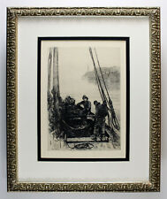 Detailed ORIGINAL 1800s COLIN HUNTER Etching Hauling the Nets SIGNED Framed COA