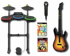 PS2 BAND HERO + World Tour Game Set w/Guitar/Drums/Mic 2 GAMES Bundle Kit two