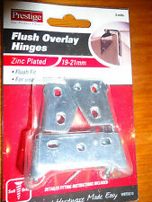 FLUSH OVERLAY HINGES 19-21MM KITCHEN CUPBOARDS PACK OF 2 WITH SCREWS BRAND NEW