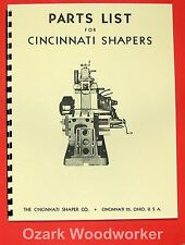 "CINCINNATI 16"" 20"" 24"" 28"" 32"" 36"" Metal Shapers Parts Manual 0122"