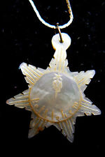 Vintage carved Star Sun mother of pearl pendant & necklace
