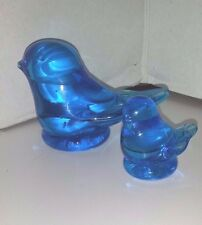 BIRDS BLUE GLASS BIRDS MAMA AND BABY BIRDS HEAVY BLUE GLASS BIRDS