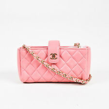 Chanel $2200 Pink Lamb Leather Quilted Valentine Collection Mini Crossbody Bag