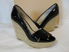 Michael Kors 8 M Cassandra Black Patent Leather Wedges New Womens Shoes