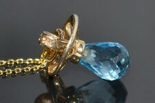New 14K Yellow Gold blue topaz baby Pacifier charm pendant