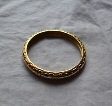 TRIFARI Vintage Gold Toned Bracelet Bangle Embossed Design MARKED Solid!
