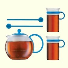 Genuine Bodum Assam Tea Set 34oz Tea Press Glass Mugs Spoons Blue European