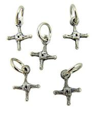 Lot of 5 Saint St Brigid's Cross 1/2 Inch Oxidized Silver Medal Petite Charm