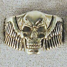 1 DELUXE SKULL HEAD W WINGS SILVER BIKER RING BR161 mens jewelry RINGS HEAVY