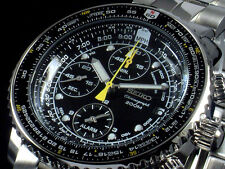 NEW MEN'S SEIKO FLIGHTMASTER 200M ALARM CHRONOGRAPH ANALOG WATCH SNA411P1