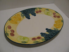 Hand-Painted Portugal Large Platter by A Santos Ceramic Pottery Fruit Motif