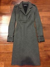 Richard Tyler Couture Runway Long Wool Dress with Leather trim - Retail $2500!