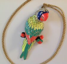 Beautiful Enamelled Parrot With Crystal Accents Pendant Necklace