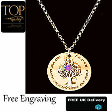 Family Tree Of Life Disc Mum Personalised Engraved Name Necklace Gold Plated UK