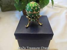 Decorative Green Egg on Stand Collectable Enamel Trinket Box *NEW in Padded Box*
