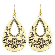 Vintage Style Antique Gold Hollow Flower Teardrop Drop Dangle Earrings E1085