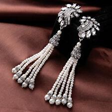 Boucles d`Oreilles Clip Argenté Cristal Fringe Perle Longe Vintage Mariag  J4