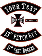 Custom Embroidered Rocker Patches Biker Motorcycle MC Club Top Bottom Cross Tags