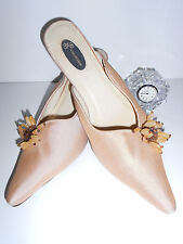 GORGEOUS BEIGE SILK MOTHER OF BRIDE,  BRIDAL SHOES HEELS  11M NEIMAN MARCUS