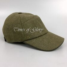 Auth Hermes Mens LEATHER TRIM Khaki WOOL Oran H Logo Jump Hat Cap Size M 57