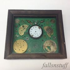 Exploded Enigma Pocket Watch Disassemble Framed Part Art Steampunk Antique VGC