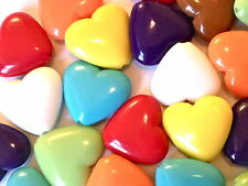25 MIXED COLOUR HEART CABOCHON CHARMS JEWELLERY MAKING CRAFTS 23mm CHP0172