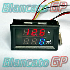 2in1 VOLTMETRO 0-100V e AMPEROMETRO 0-999mA laboratorio alimentatore display 1A