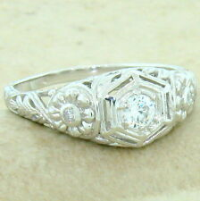 ENGAGEMENT WEDDING ANTIQUE STYLE 925 STERLING SILVER CZ RING SIZE 10,       #839