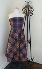 J.CREW Strapless Plaid Dress in Silk w/Built in Bra Women's 10