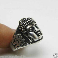 Vintage Beautiful Tibet Silver Carved Buddha head Ring 8#